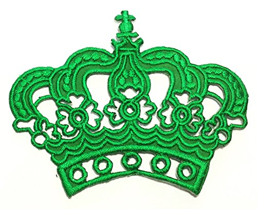Green King Queen Crown DIY Embroidered Sew Iron on Patch p#243