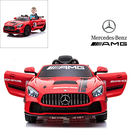 Mercedes Benz AMG GT4 Electric Ride On Car with Remote Control for Kids, 12V Power Battery Official Licensed Kids Car with 2.4G Radio Parental Control Opening Doors, Red