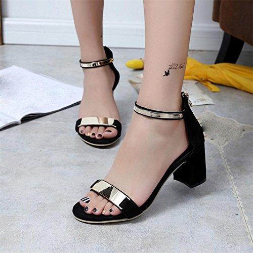 Sandales Femme Sandales épais Noir Toe élégant Chaussures Talons Sandales à d'été Open Vovotrade® Gladiator qXdxpaCq