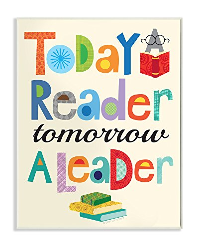 The Kids Room by Stupell Stupell Home Décor Today a Reader Tomorrow a Leader Wall Plaque Art, 10 x 0.5 x 15, Proudly Made in (Child Framed Canvas)