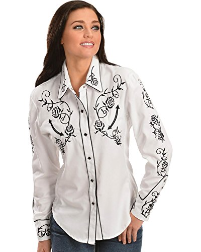 Scully Women's - Floral Embroidered Retro Western Shirt White Large