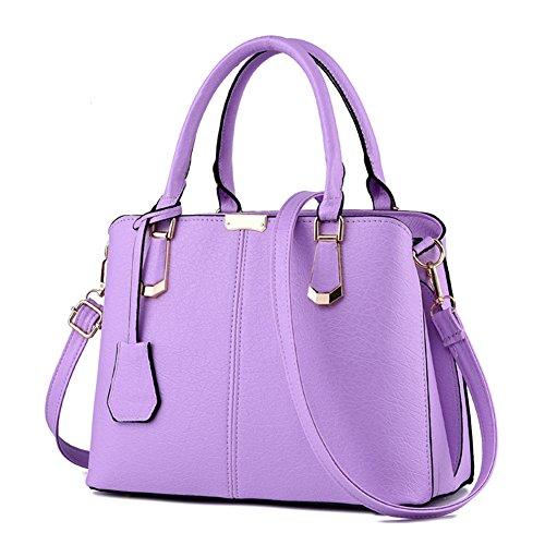 (Pahajim women handbags PU leather top handle satchel tote purse shoulder bags (purple))
