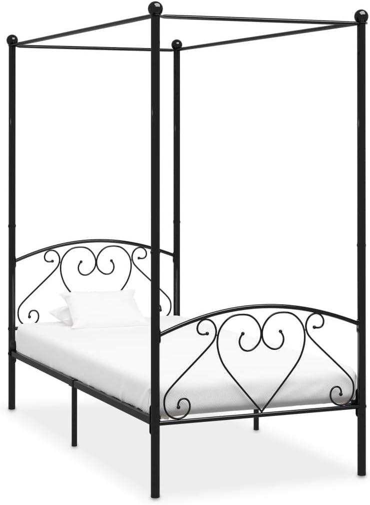 UnfadeMemory Letto a Baldacchino Struttura Letto Matrimoniale,Struttura Letto Singolo Bianco in Metallo 90x200 cm
