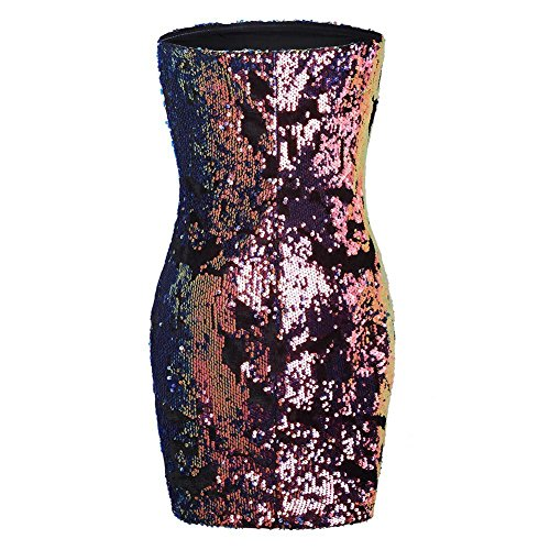 PanDaDa Party Mini Sequined Women's Tube Club Dress Dress Multicolor for Cocktail Sexy Bodycon Strapless wqwP6BWr
