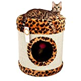 Kaxima 3 Platform Cat Tree Scratching Post Activity Centre Leopard-style sisal barrel comfort cat Nest Kitty Tunnel toy 3545cm sisal Blanket
