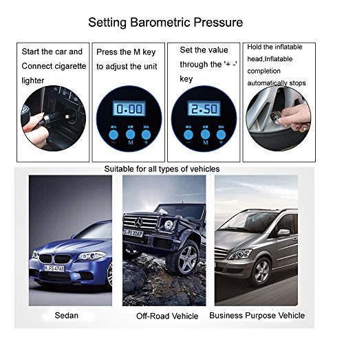 Auto portable Air Compressor Tire Inflator, Digital Air Compressor Pump for car tires, 12V 150 PSI Tire Pump for Car, Truck, Bicycle, RV and Other Inflatables by EAUSPL (Image #4)