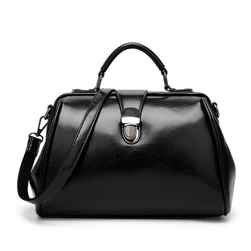 D Huasen Evening Bag Women's Leather Bag Fashion OilSkin Doctor Bag Simple Single Shoulder Diagonal Tote Bag 301719cm Party Handbag (color   D)