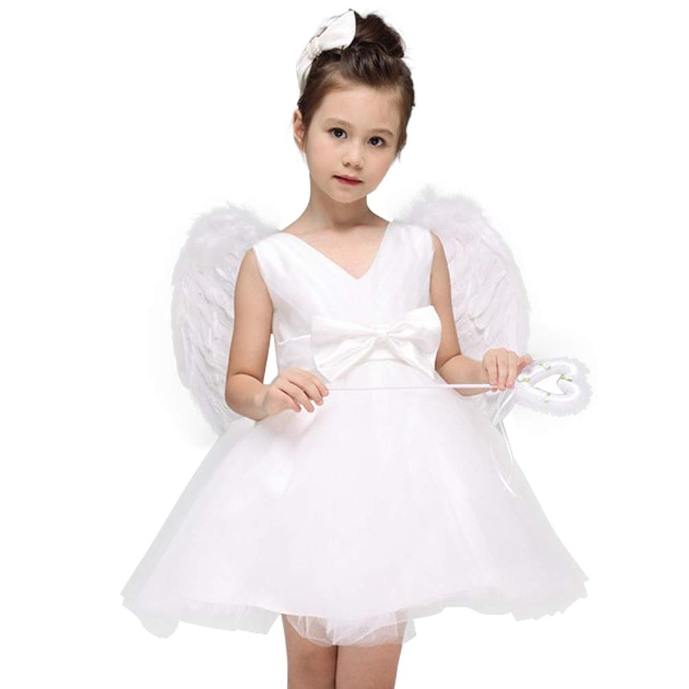 Woworld Dress with Feather Wings for Children Child's Angel Costumes from Age 4 to 15(XS)