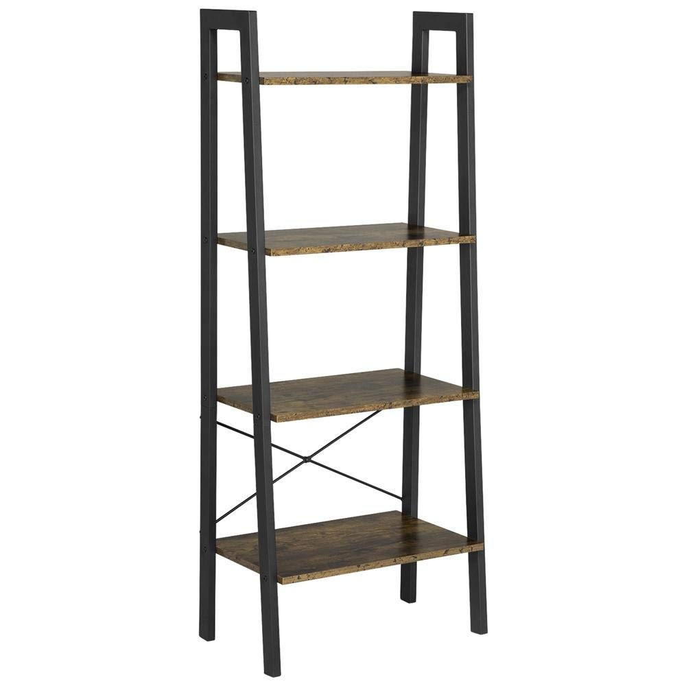 Yaheetech Industrial Ladder Rack Shelf, 4-Tier Storage Shelving Bookshelf, Free-Standing Plant Flower Stand, Accent Home Office Furniture, Rustic Brown by Yaheetech