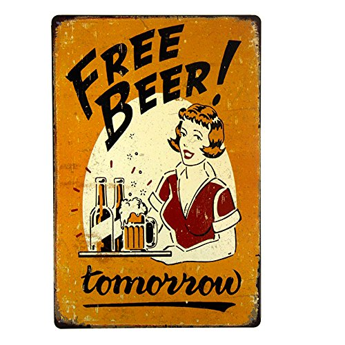 dingleiever DL-Free Beer Tomorrow Bar Pub Garage Man Cave Rustic Metal Tin Sign Yellow Vintage