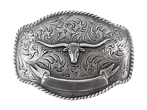 Antique Silver Finish Texas Longhorn Steer with Ribbon Engraved Western Belt Buckle (Tony Lama State Of Texas Belt Buckle)