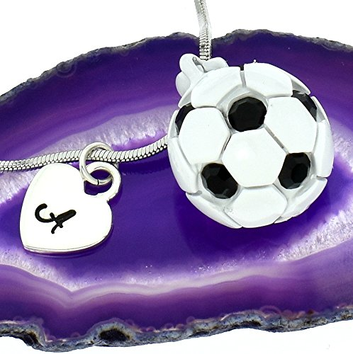 Soccer Football White Black Ball Personalized Necklace Sparkling Crystal Pendant Chain Customizable Hand Stamped Initial Letter Silver Heart Custom Charm Gift Sport Jewelry