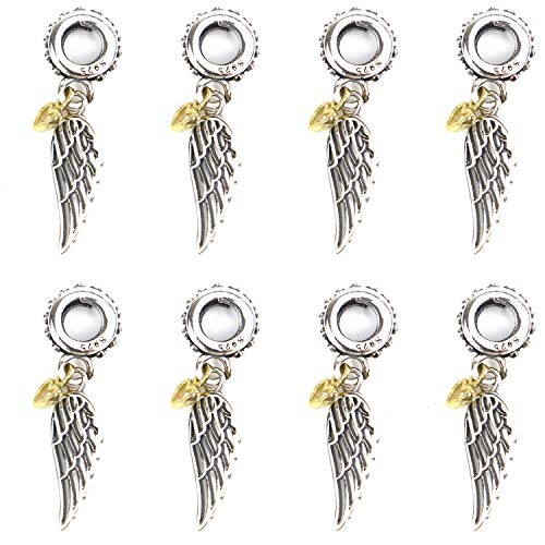 JETEHO 925 Sterling Silver DIY Angel Wing Charms Pendants with Gold Plated Heart for Crafting, Jewelry Findings Making Accessory for DIY Necklace Bracelet Earrings