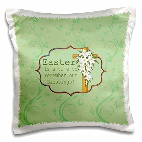 Easter Lily Vine - 3dRose Beverly Turner Easter Design and Photography - Easter is a time to remember our Blessings, Cross, Lilies, Vine Design - 16x16 inch Pillow Case (pc_276168_1)