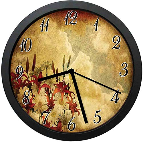 YiiHaanBuy Burnt Orange Modern Decor Wall Clock-10inch Double Exposure Burnt Worn Shaggy Retro with Flowers Clouds ,No-Ticking, Single Battery Operation, Energy Saving and Environmental Protection