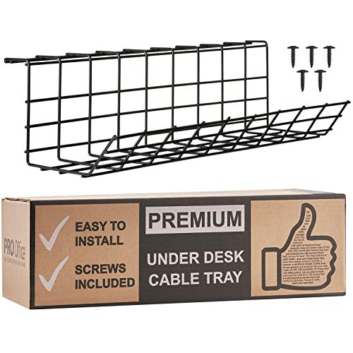 Under Desk Cable Management Tray - Cable Organizer for Wire Management. Metal Wire Cable Tray for Office and Home (Black)