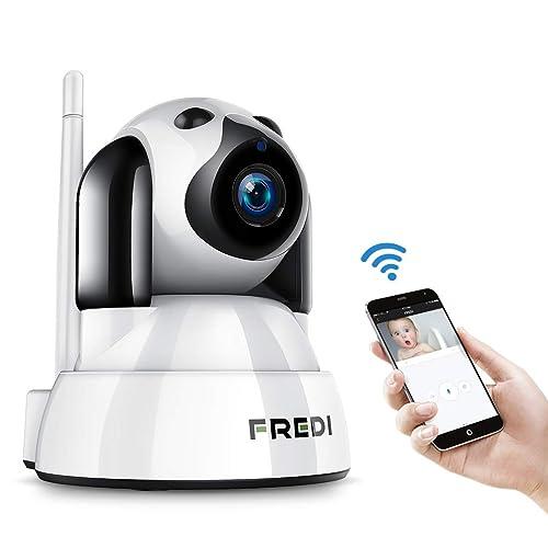 FREDI Baby Monitor IP WiFi P2P Cámara de Vigilancia Seguridad Inalámbrica HD 720P Camara de Vigilabebes IR Vision Nocturna Admite MicroSD de hasta 128 GB Detección de Movimiento para Mascotas