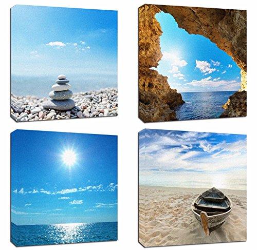Cheap  4Pcs 12x12 Canvas Wood Stretched Jetty Beach Blue Sea Ocean Sky Theme..