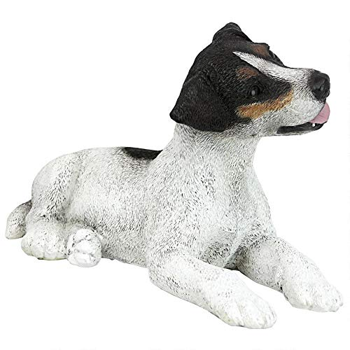 Design Toscano Black and White Jack Russell Puppy Dog Statue, Multicolored