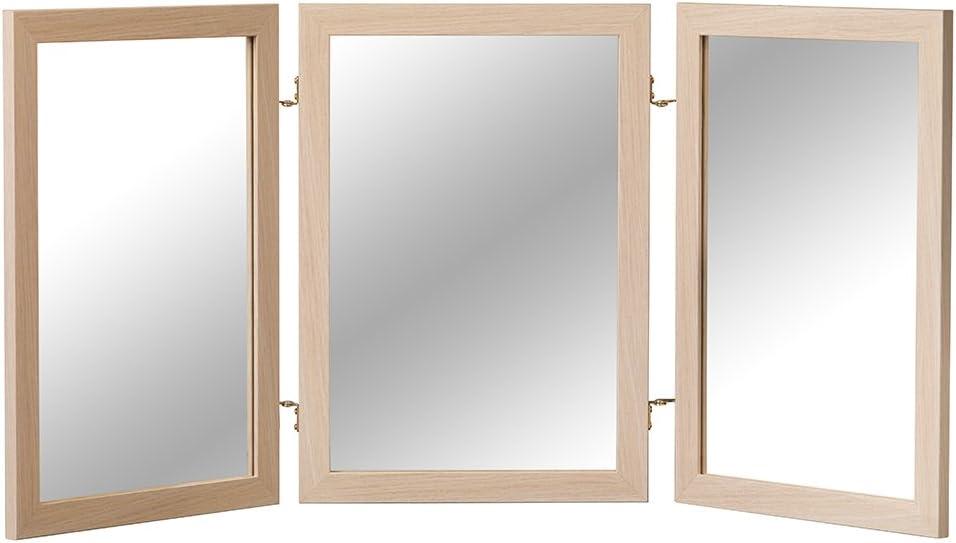 Mirrotek - Espejo plegable de 3 hojas clásico de madera para tocador: Amazon.es: Hogar