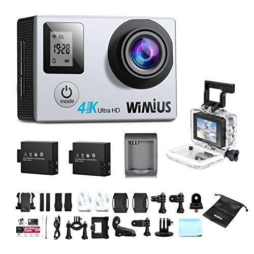 Action Camera Dual Screen 4K WIMIUS Q4 WIFI Waterproof Sports Camera 16MP 170° Wide Angle +2 Batteries +20 extra Kits (Silver) WiMiUS®