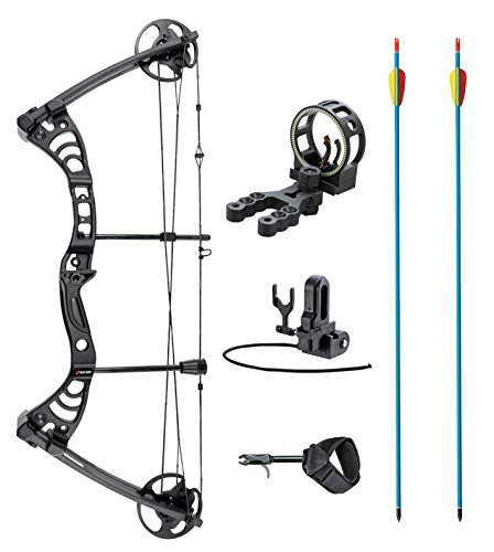 leader-accessories-compound-bow-30-55lbs-19-29-archery-hunting-equipment-with-max-speed-296fps-black