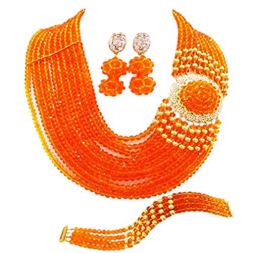 Orange Jade Necklace (aczuv Crystal Royal Blue Beads Jewelry Set African Necklaces for Women Nigerian Wedding Jewelry Sets (Orange))