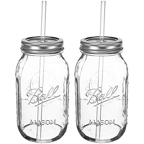 Ball RNWG-SIP-32OZ-2PK Guzzler Set a 32oz Mason Jar + Sippin' Lid + Acrylic Straw Reusable Novelty Cocktail Glasses Shabby Chic, 2 Pack Clear by Ball (Image #6)