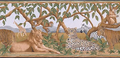 (Wallpaper Border - Jungle Animals Wallpaper Border BR14010B)