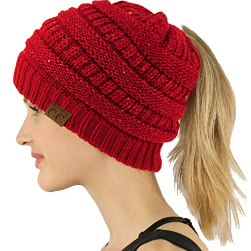 Ponytail Messy Bun BeanieTail Soft Winter Knit Stretchy Beanie Hat Cap Sequins Red