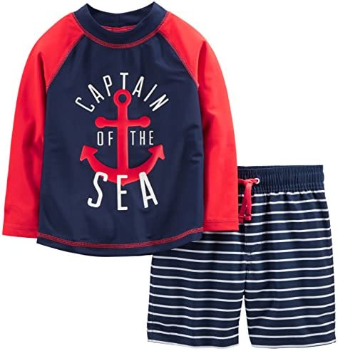 Simple Joys through Carter's Baby and Toddler Boys' 2-Piece Swimsuit Trunk and Rashguard