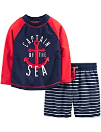 Baby and Toddler Boys' 2-Piece Swimsuit Trunk and Rashguard