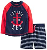 Simple Joys by Carter's Baby Boys' Toddler 2-Piece Swimsuit Trunk and Rashguard, Red and Blue Anchor, 5T