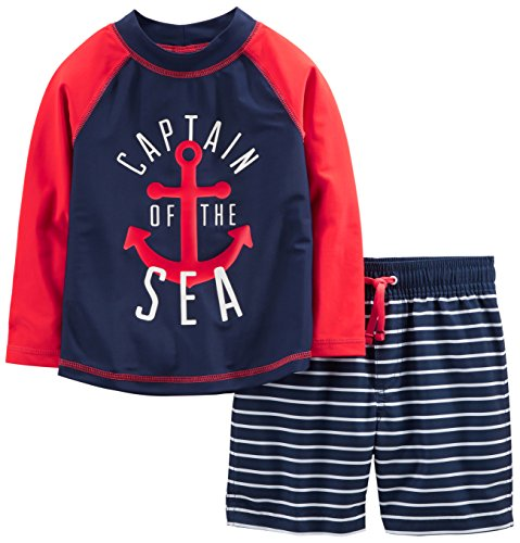 Simple Joys by Carter's Baby Boys' 2-Piece Swimsuit Trunk and Rashguard, Red and Blue Anchor, 12 Months