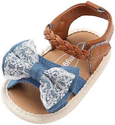 Isbasic Baby Girls Sandals Bohemia Flower Bow Soft Sole Toddler First Walkers Beach Summer Shoes