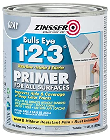 Rust-Oleum 286258 Zinsser Bulls Eye 1-2-3 Primer, 31.5 oz, Gray - 4 Pack - - Amazon.com