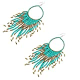Gbell Clearance! Women Bohemian Beads Fringed Earrings- Long Tassel Dangle Pendant Drop Hook Earrings Jewelry Statement for Lady Party Date Ball Wearing,14 × 3.8CM (Blue)