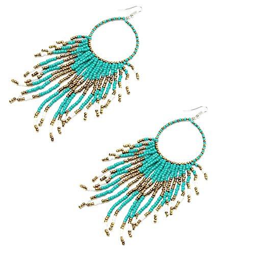 (Gbell Clearance! Women Bohemian Beads Fringed Earrings- Long Tassel Dangle Pendant Drop Hook Earrings Jewelry Statement for Lady Party Date Ball Wearing,14 × 3.8CM (Blue))