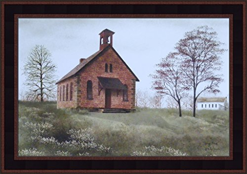 Spring Break by Billy Jacobs 15x21 Little Country Brick School House Teacher Primitive Folk Art Print Framed Picture ()