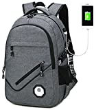 SQLP Laptop backpack for Mens 15.6 inch Teen Boys Waterproof School bag with usb charging port (Gray)
