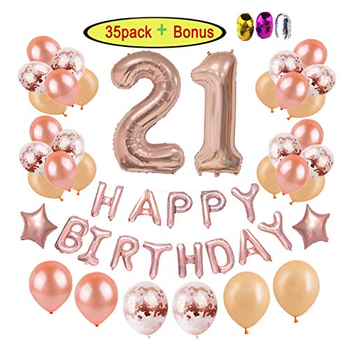 21st Birthday Decorations Party Supplies for Girls/Women | Rose Gold Finally Legal 21 Party Ideas-Giant Number Foil Balloons+Rose Gold Confetti Balloons+Happy Birthday Balloon Banner+Star Foil -
