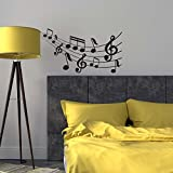 LaModaHome Musical Wall Sticker, Music Notes are Dancing, Size (29.5''x15.7'') - Vinyl Sticker, Removable Wall Mural Decals - Perfect for Office, Home, Living Room, Bedroom, Dorm