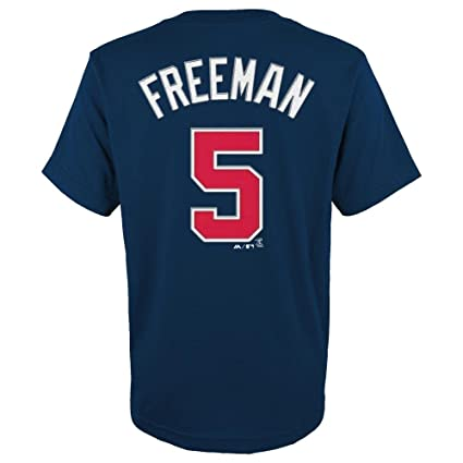 89125ea0 Majestic Freddie Freeman Atlanta Braves Navy Youth Jersey Name and Number  T-shirt Small 8