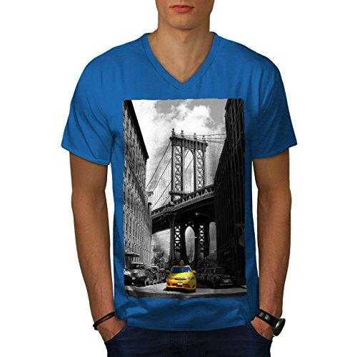 wellcoda Brooklyn Bridge Mens V-Neck T-Shirt, Yellow Graphic Print Tee Royal Blue ()