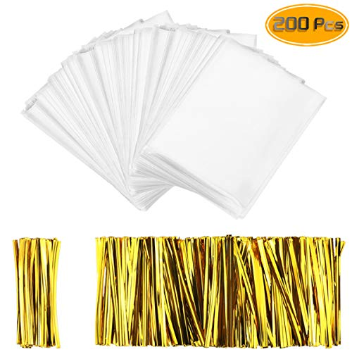 (Oruuum 200 Pcs Thick OPP Food Packaging Bag, Transparent Food Storage Bag With Gold Rope - 2.44mils-Double deck, Transparent Plastic Bag For Lollipop Chocolate Biscuit (4'' X 6'').)