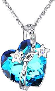 JRhong Gioielli Nobili Eleganti Collana in Argento a Forma di Cuore Necklace con Cristalli Fashion Jewelry Set per Donna