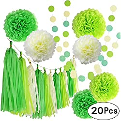 Summer Tropical Hawaiian Party Green Hangings Wedding Favors Decorations Kit with Tissue Paper Flowers Tassel Hangings and Circle Dots Garlands Baby Shower Birthday Party Decorations