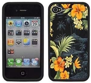 Hawaiian Flowers Print Handmade iPhone 4 4S Black Hard Plastic Case