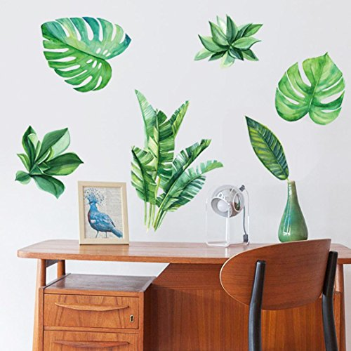 Banana Leaf Wall - Ussore Banana Leaves Art Wall Sticker Decal For living bedroom kitchen Office (A)