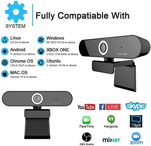 enregistrement et streaming,cam/éra de flux en direct pour PC Webcam-Fuvision Webcam /à mise au point automatique 1080p Cam/éra Web num/érique avec microphone pour vid/éoconf/érence